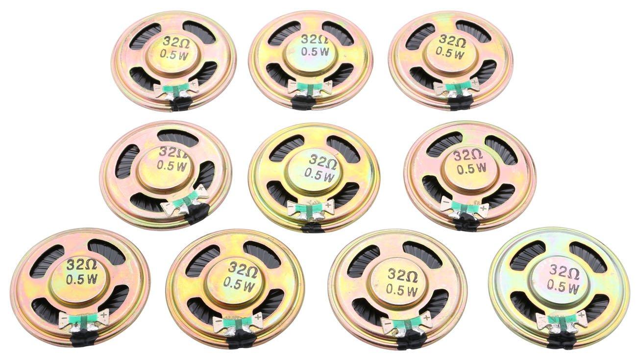 10PCs Mini Round Slim Metal Shell Internal Magnet Audio Speaker Loudspeaker DIY 4cm 32Ω 0.5W by Yeeco