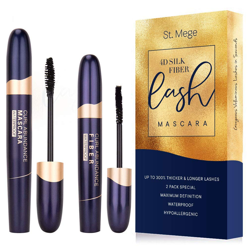 St. Mege, 4D Silk Fiber Lash Mascara and Fiber 2-in-1 Set