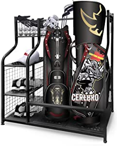 Mythinglogic Golf Storage Garage Organizer, 2 Golf Bag Storage Stand and Other Golfing Equipment Rack & 4 Removable Hooks, Extra Large Design for Golf Clubs Accessories
