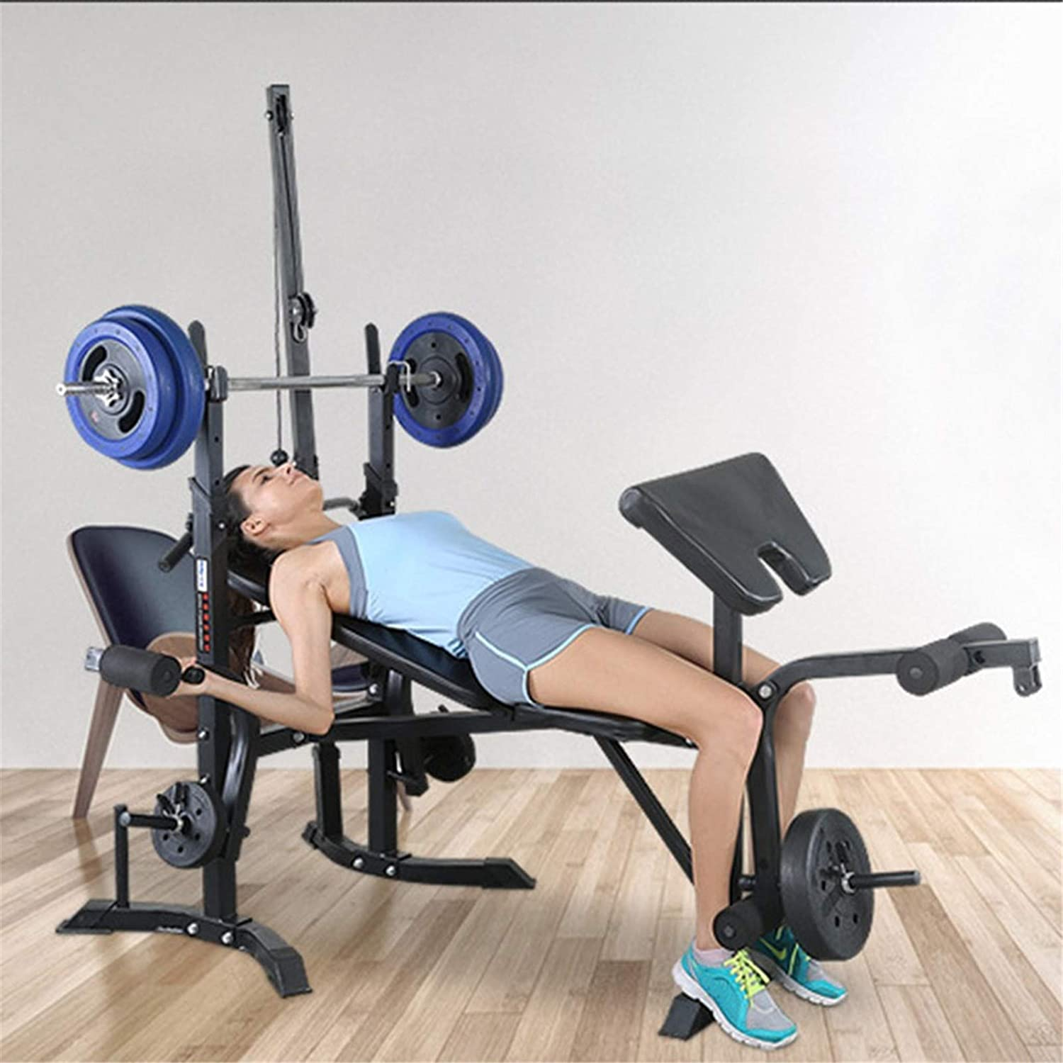 Fitness Weight Bench 8 in 1 Multifunction Weight Lifting Dumbell Barbell