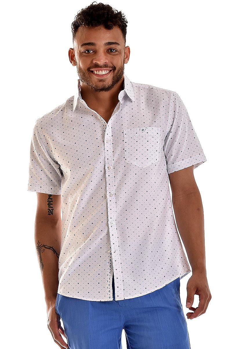 bohio Men White Nautical Print Short Sleeve Shirt MCS781