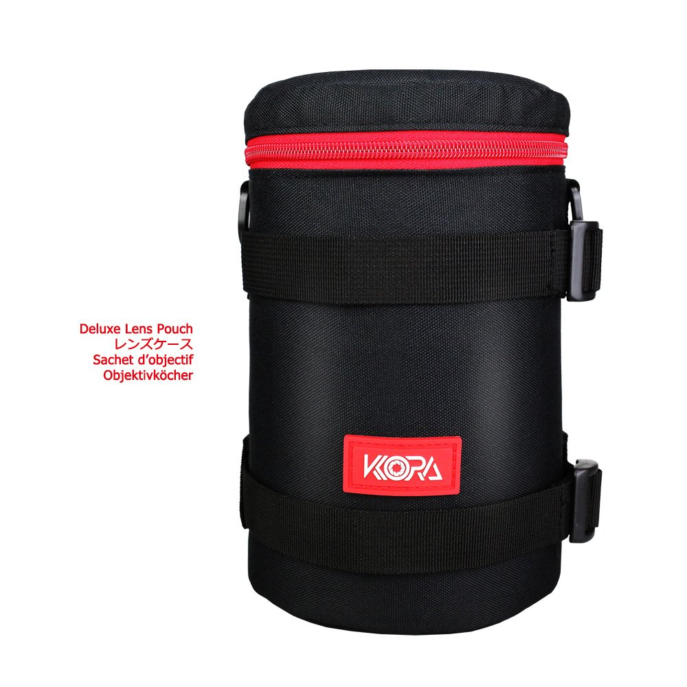 Kora 113mm x 215mm Deluxe Lens Pouch Bag Case for Camera Lens Canon EF 70-200mm F4 USM, Canon EF 28-300mm F3.5-5.6L IS USM, Canon EF 70-300mm F4-5.6L IS USM, and fits JBL Charge 2+ Bluetooth Speaker by Kora