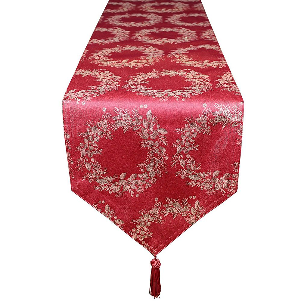 LoveinジャカードAnademクリスマスポリエステルTable Clothsランナープレースマットセット( 2色、異なるサイズ) 13x87inches 13x87inches Red&Gold B01N0STS1Z