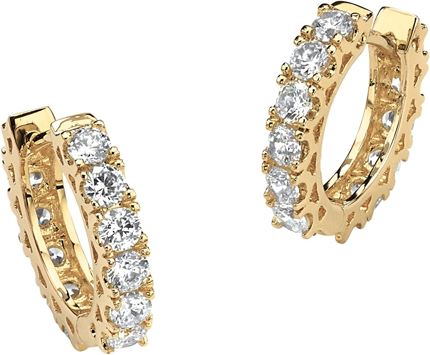 14K Yellow Gold Plated Round Cubic Zirconia Huggie Hoop Earrings (15mm)