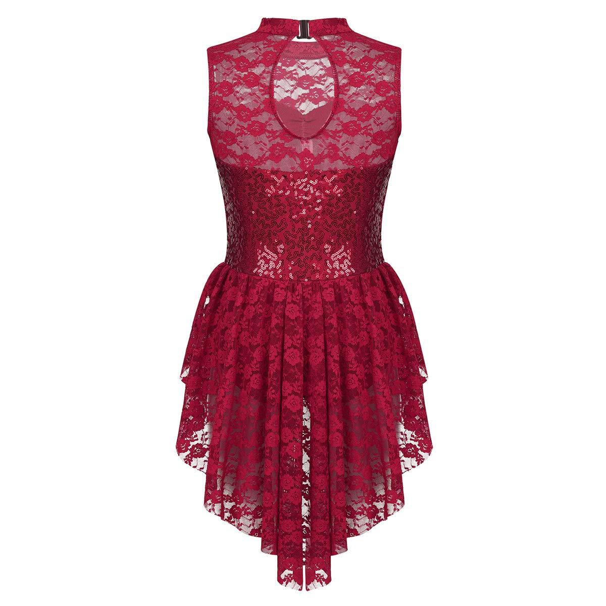 JEATHA Kids Girls Lace Splice Shiny Sequins Keyhole Cutout Back Dress Ice Roller Skating Ballet Dance Leotard Dancewear