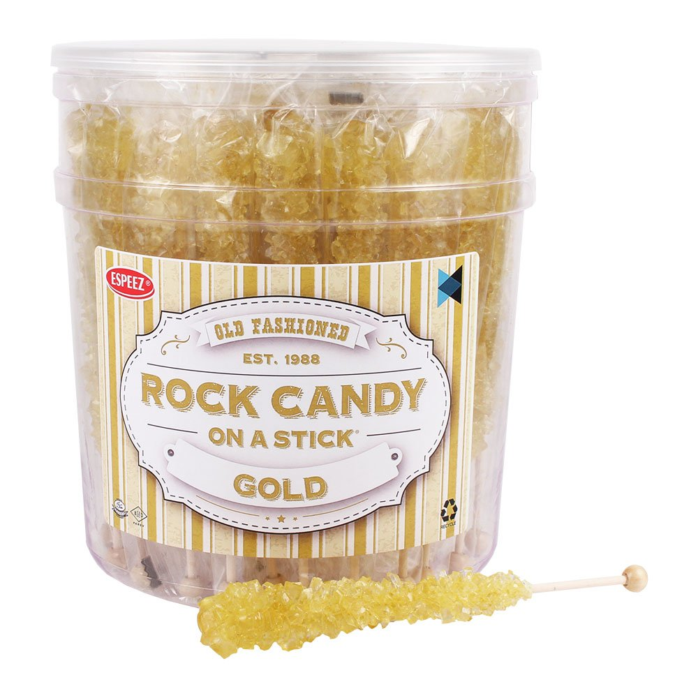 Amazon.com : Extra Large Rock Candy Sticks: 36 Gold Crystal Rock ...