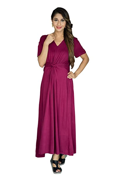 c8c214a9ab8 Momzjoy Berry Front Knot Lycra Maternity Dress  Amazon.in  Clothing    Accessories