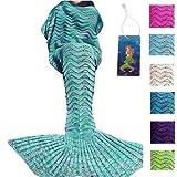 DDMY Mermaid Tail Blanket Handmade Crochet Mermaid Blanket Seasons Warm Soft Living Room Quilt Sleeping Bag Best Birthday Christmas gift For Kids Adult(Green)