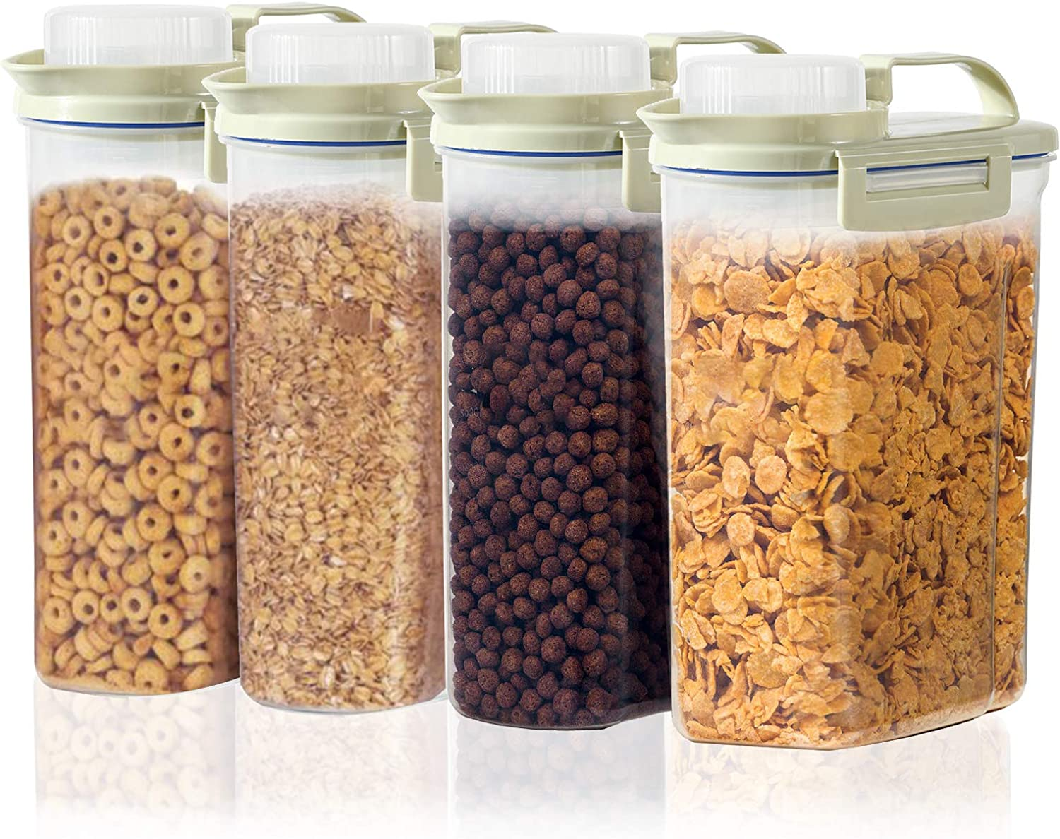 Cereal Container, BPA Free Plastic Large Dry Food Canisters for Kitchen Pantry Organization and Storage, 2.5L Food Storage Containers Set of 4