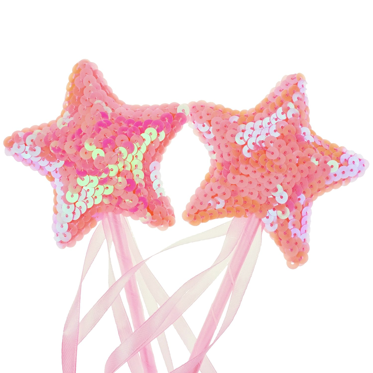 2 Counting Bilipala Pink Star Magic Wands Fairy Princess Wand for Kids Birthday Baby Shower Party Supplies