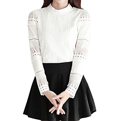 d7f8d8352e8a LAEMILIA Damen Bluse mit reißverschluss hinten Elegant Lace Langarm Chiffon  mit Floraler Spitze Weiß Tunika Hohle