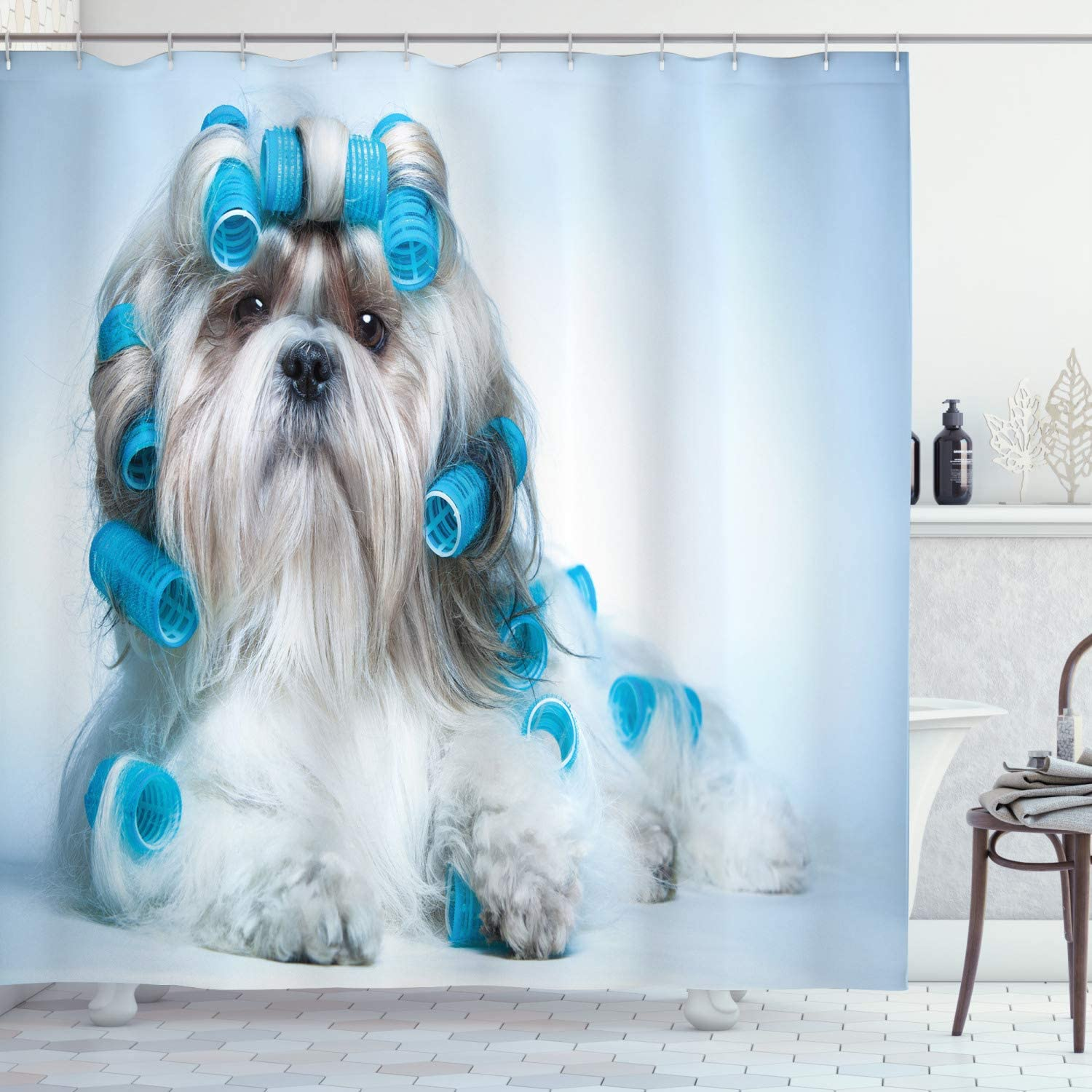 "Ambesonne Dog Lover Shower Curtain, Shih Tzu Dog Grooming Hairstyle Salon Front View Closeup Studio Shot, Cloth Fabric Bathroom Decor Set with Hooks, 75"" Long, Pale Blue"