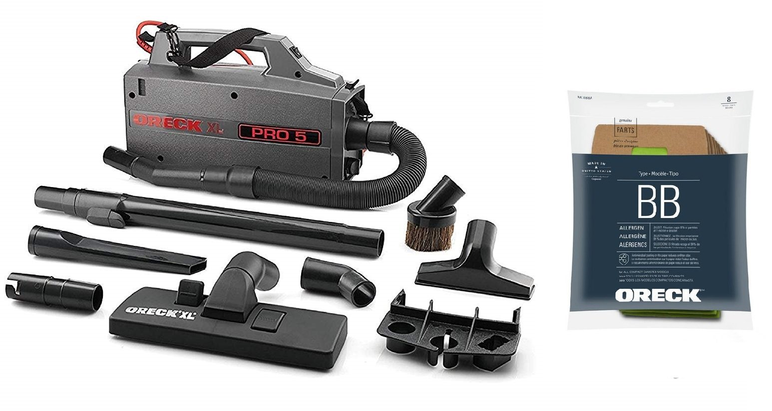 Oreck Commercial BB900DGR XL Pro 5 Super Compact Canister Vacuum, 30 Power Cord with