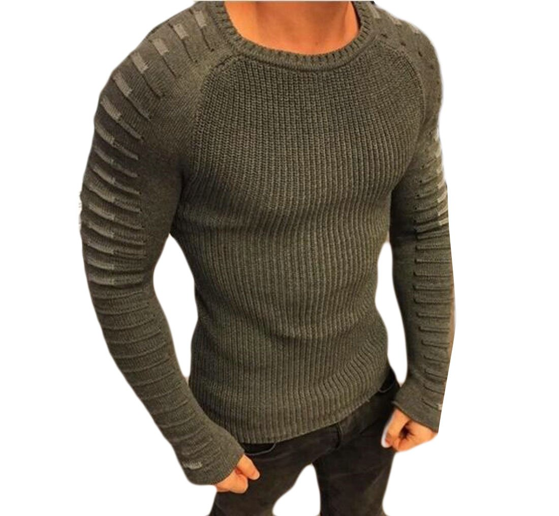 Domple Mens Spring Crewneck Patchwork Slim Fit Pullover Knit Sweaters Army Green US XS