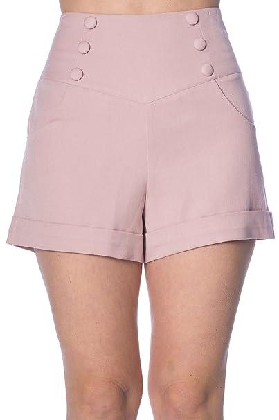 92e4e38a2be6e Banned Cute As A Button Pantaloncini Stile Anni  50 - Bianco