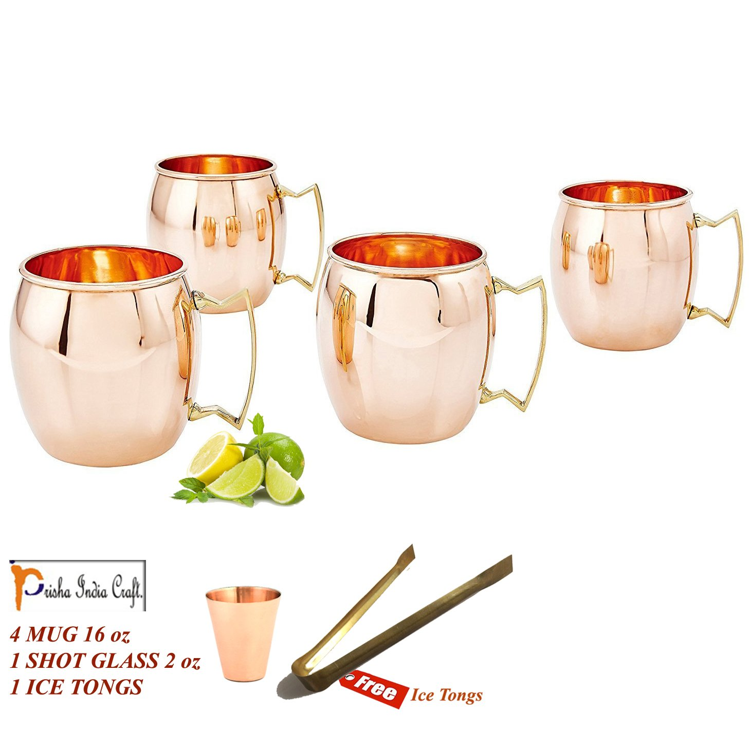 Prisha India Pure Copper Moscow Mule Mug Best Quality with Brass Handle Set of 4 Prisha India Craft