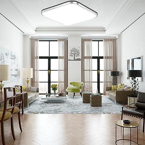 ETiME® LED Deckenleuchte Deckenlampe Modern Wohnzimmer Lampe Schlafzimmer  Küche Panel Leuchte Silber (30x30cm 12W Kaltweiß)