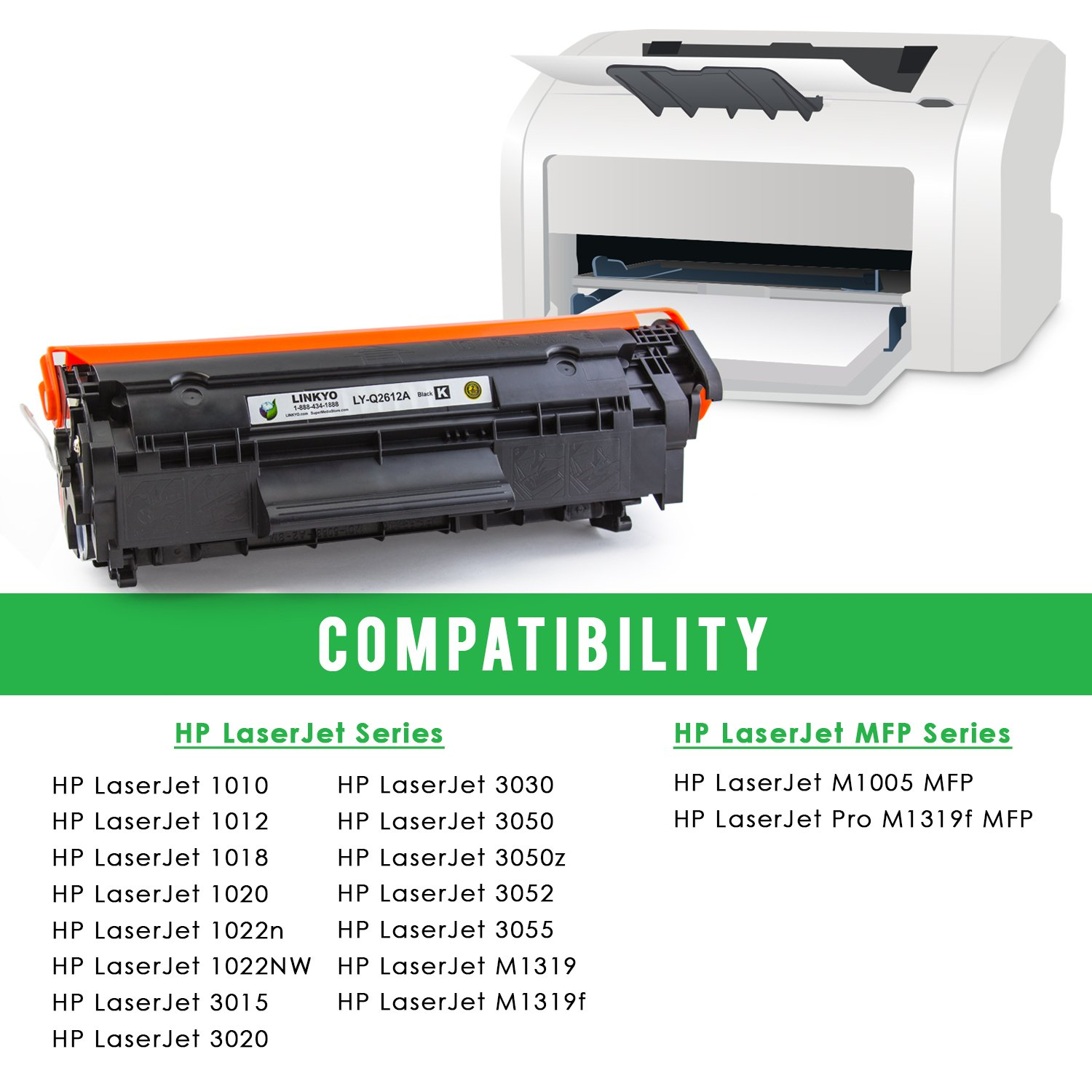 Amazon.com: LINKYO Compatible Toner Cartridge Replacement for HP 12A Q2612A  (Black): Office Products