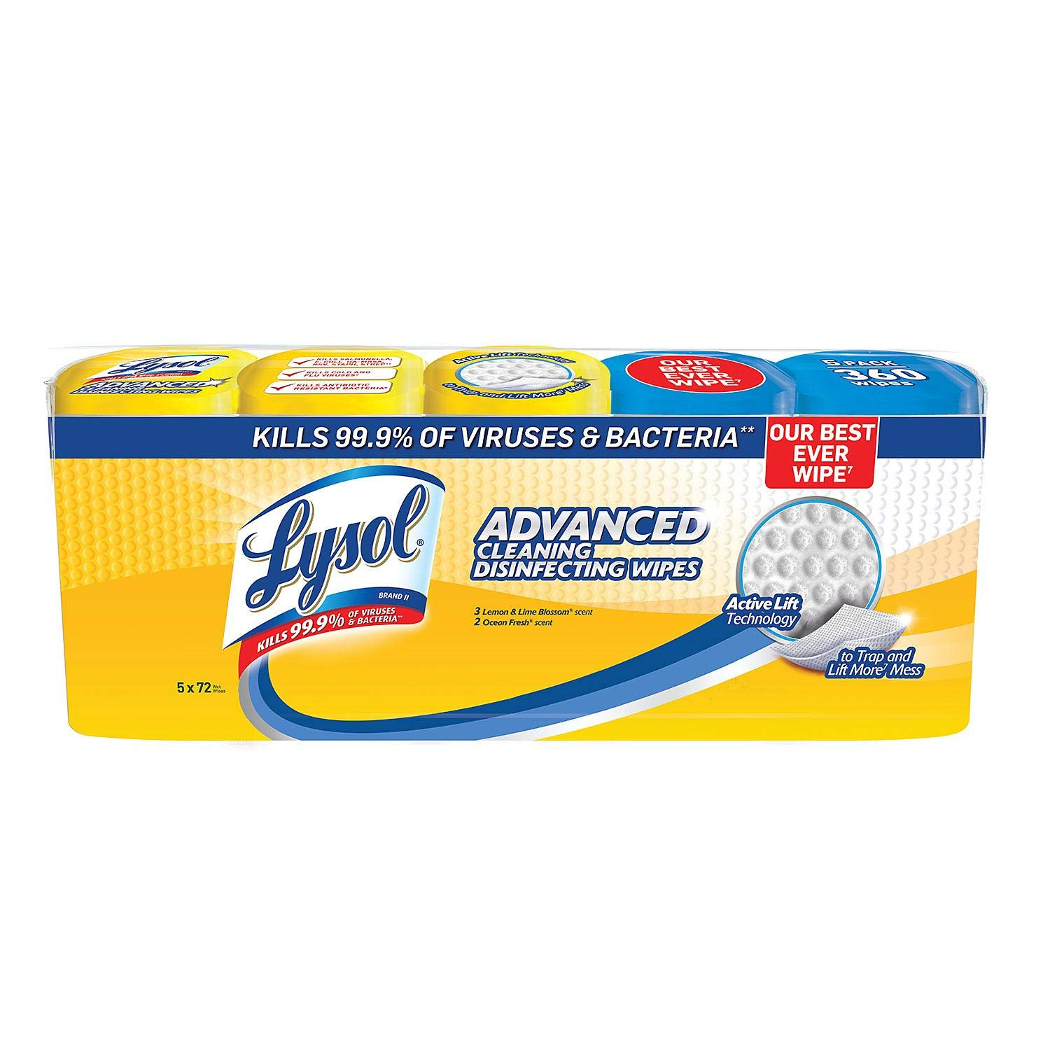 An item of Lysol Advanced Cleaning Disinfecting Wipes Variety Pack, 5 pk./72 ct. by Brand of Lysol (Image #1)