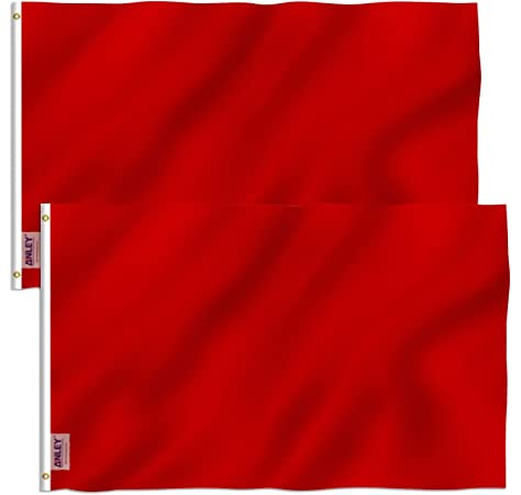 3x5 Ft SOLID Plain Red Printed Polyester Flag Flags 2 PACK