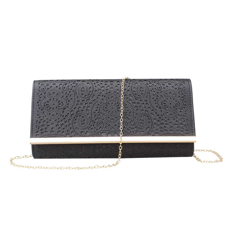 Womens Faux Leather Envelope Clutch Bag Evening Handbag Shouder Bag Wristlet Purse With Chain Strap. (black-1)