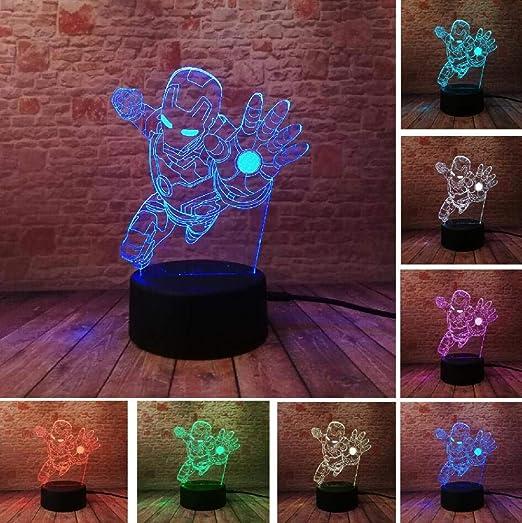 Novedad Marvel Avengers Figura superhéroe de dibujos animados Spiderman Iron Man Lámpara de mesa 3D Luz