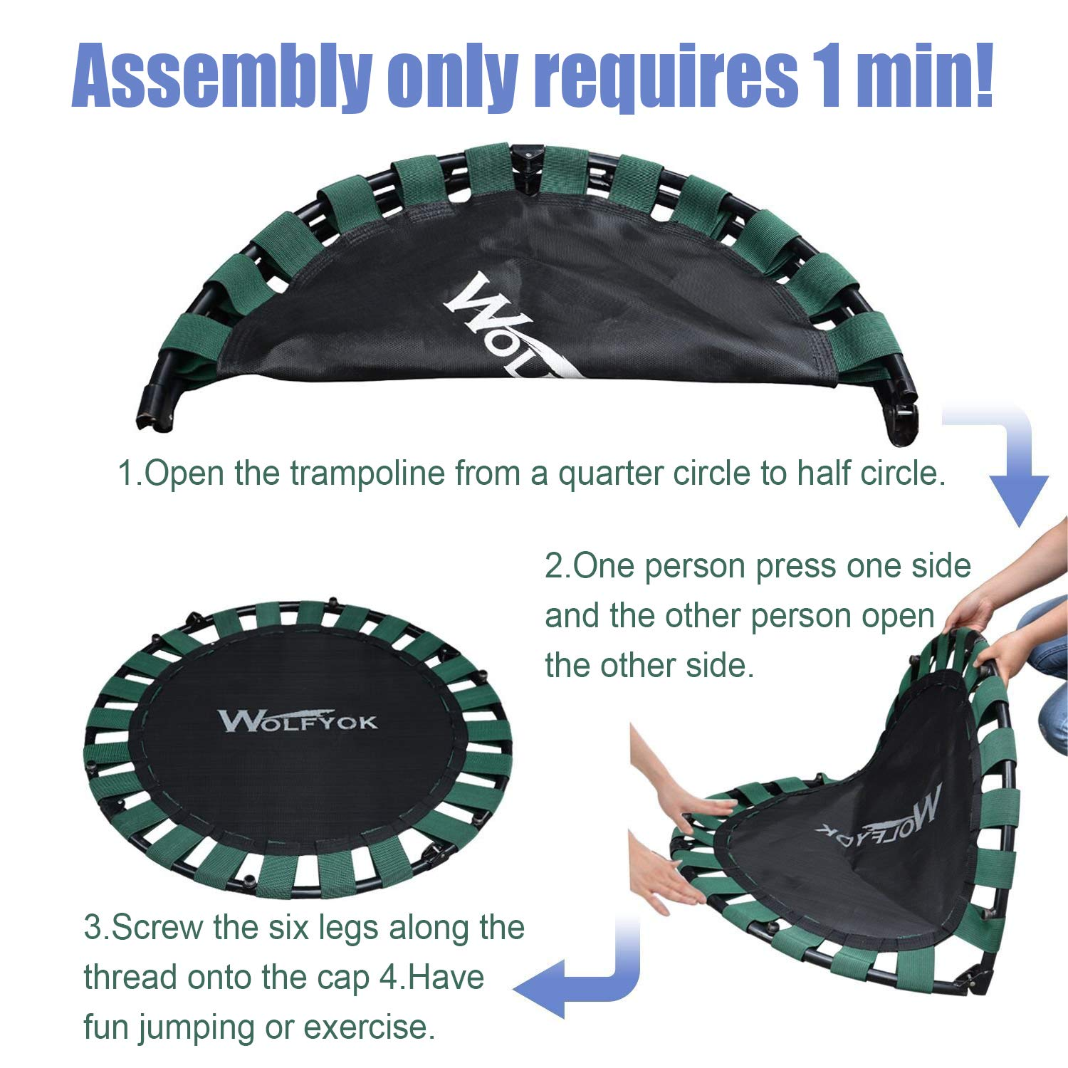 Wolfyok Exercise Trampoline with Safety Pad Adjustable Handle Bar Portable & Foldable Rebounder for Adults Kids Body Fitness Training Workout Max Load 220 lbs Black by Wolfyok (Image #5)