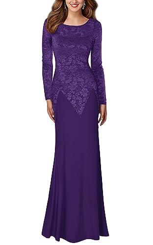 REPHYLLIS Women's Retro Floral Lace Wedding Maxi Bridesmaid Long Dress
