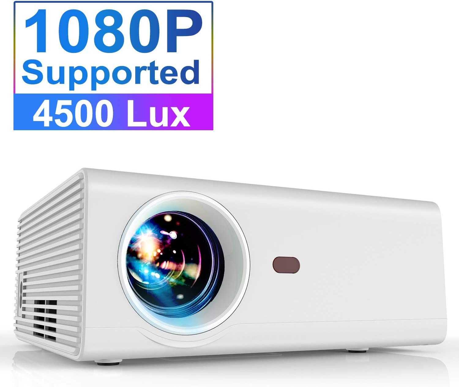 Projector, YABER Portable Projector with 4500LUX 60,000 HRS LED Lamp Life, 1080P and 200'' Supported, Full HD Mini Movie Projector Compatible with Smartphone/Fire Stick/TV/PS4 Ideal for Home Theater
