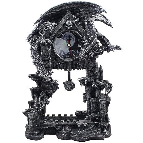 mythical guardian dragon on castle desk clock with pentagram pendulum in metallic look for shelf