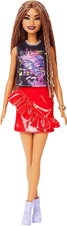 Barbie - Fashionista Muñeca Morena con Cabello Trenzado y Falda Roja (Mattel FXL56)