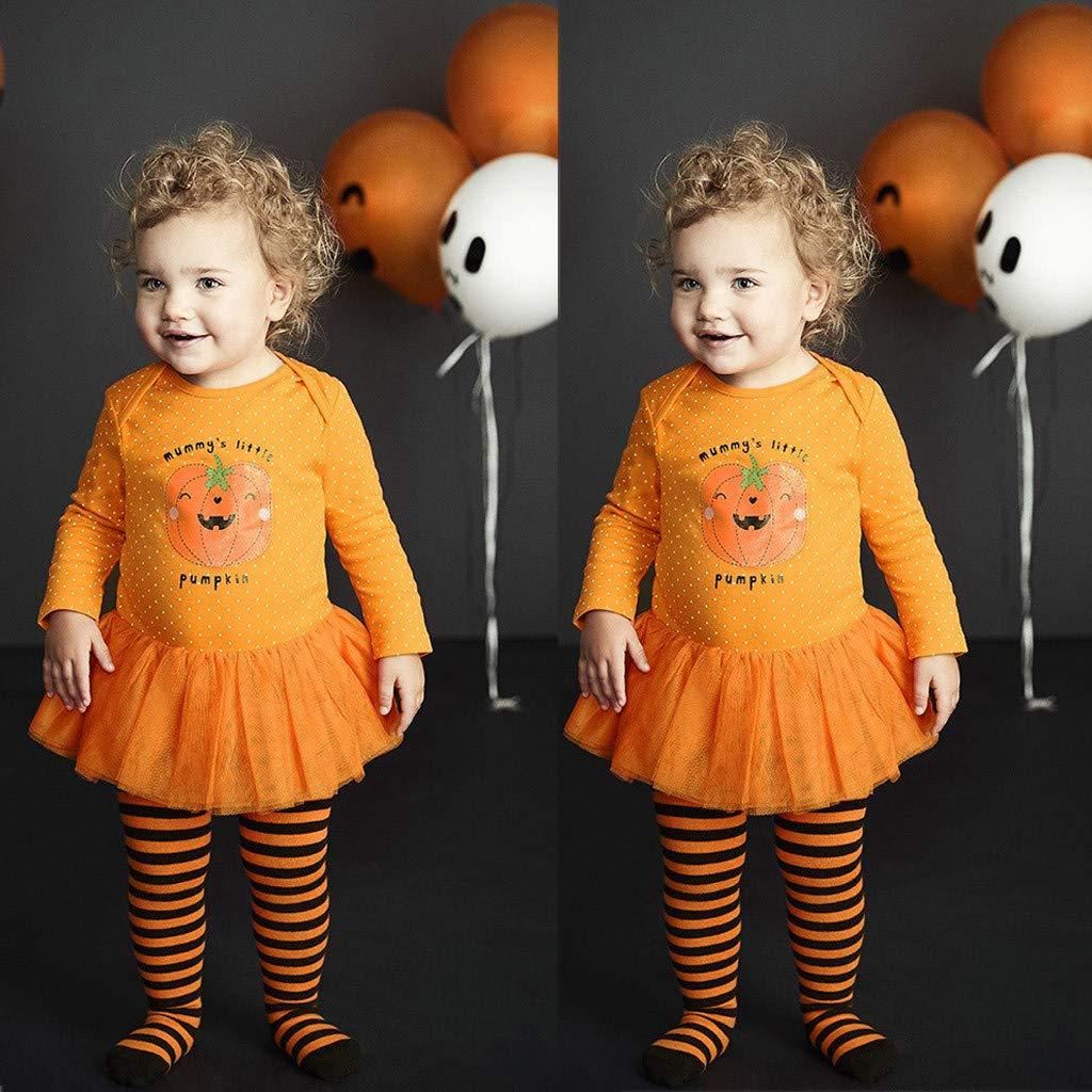 Disfraz Ropa de Tul Falda Mameluco Estampado de Letras MummyS Little Pumpkin Naranja Traje del Mono de Halloween del beb/é Vestido 3M-3T MYONA 1 Pieza Vestido de Halloween para Ni/ñas