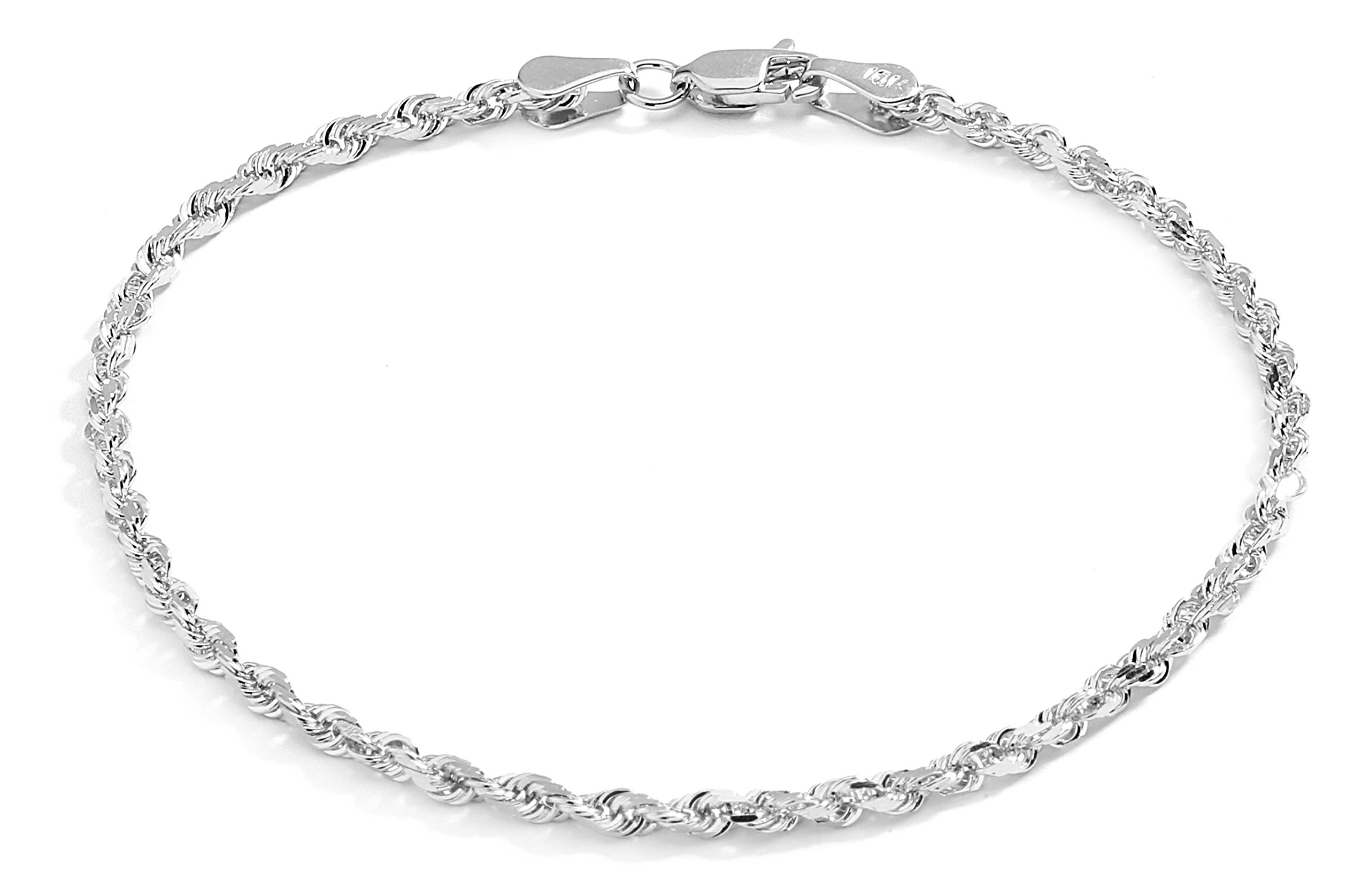 10 Inch Solid Diamond Cut Rope Chain Ankle Bracelet Anklet - 10k White Gold - 2.5mm (0.1'')