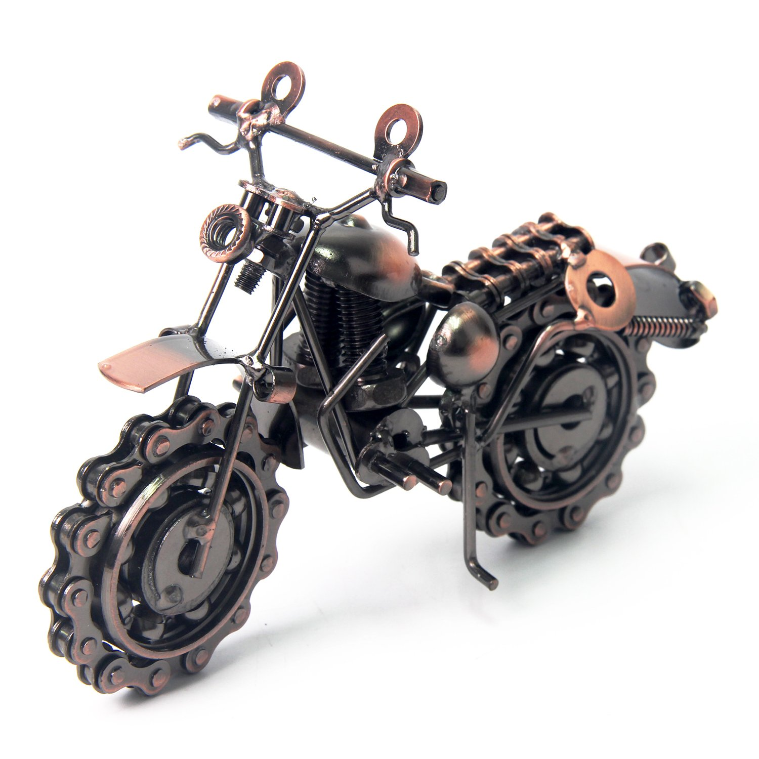 Vintage Handcrafted Iron Motorbike Model With Chainwheel