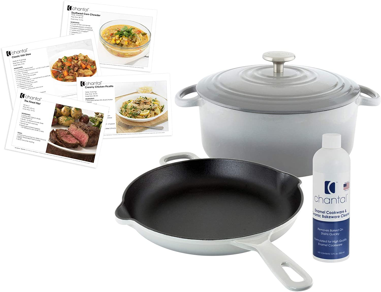 """Chantal Enameled Heavy Duty Cast-Iron Set: 5-Quart Round Dutch Oven with Lid and 10"""" Cast-Iron Skillet with Ergonomic Iron Handles, Fade Grey, Includes Cleaner and Recipe Cards"""