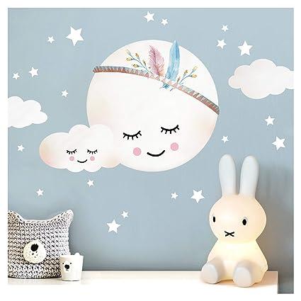 Little Deco Wandtattoo Kinderzimmer Madchen Mond Wolken Sterne I