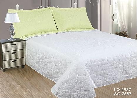 ForenTex Colchas Cama 150 Reversible Blanca y Verde Pistacho con Fundas Almohada para Verano, Microfibra, LQ-2587, 150 cm
