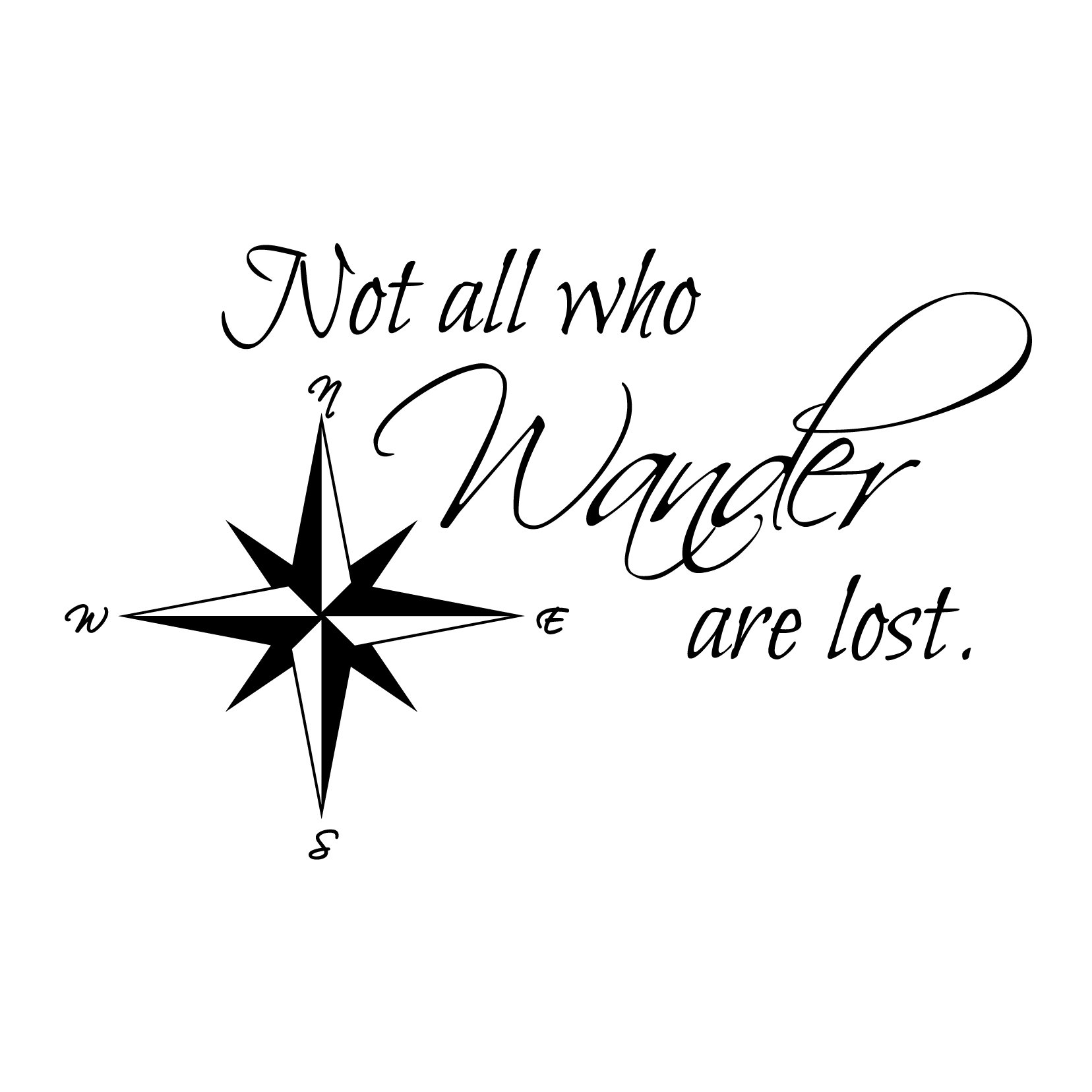 Not all Who Wander Are Lost Gandalf Quote - Custom Vinyl Wall Art Decal Decor, Wall Decor, for Homes, Offices, Kids Rooms, Nurseries, Schools, High Schools, Colleges, Universities, Interior Designers, Architects, Remodelers