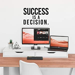 "Vinyl Wall Art Decal - Success is A Decision - 15"" x 23"" - Inspirational Positive Quote Sticker for Living Room Office Meetings Conference Room School Decor"