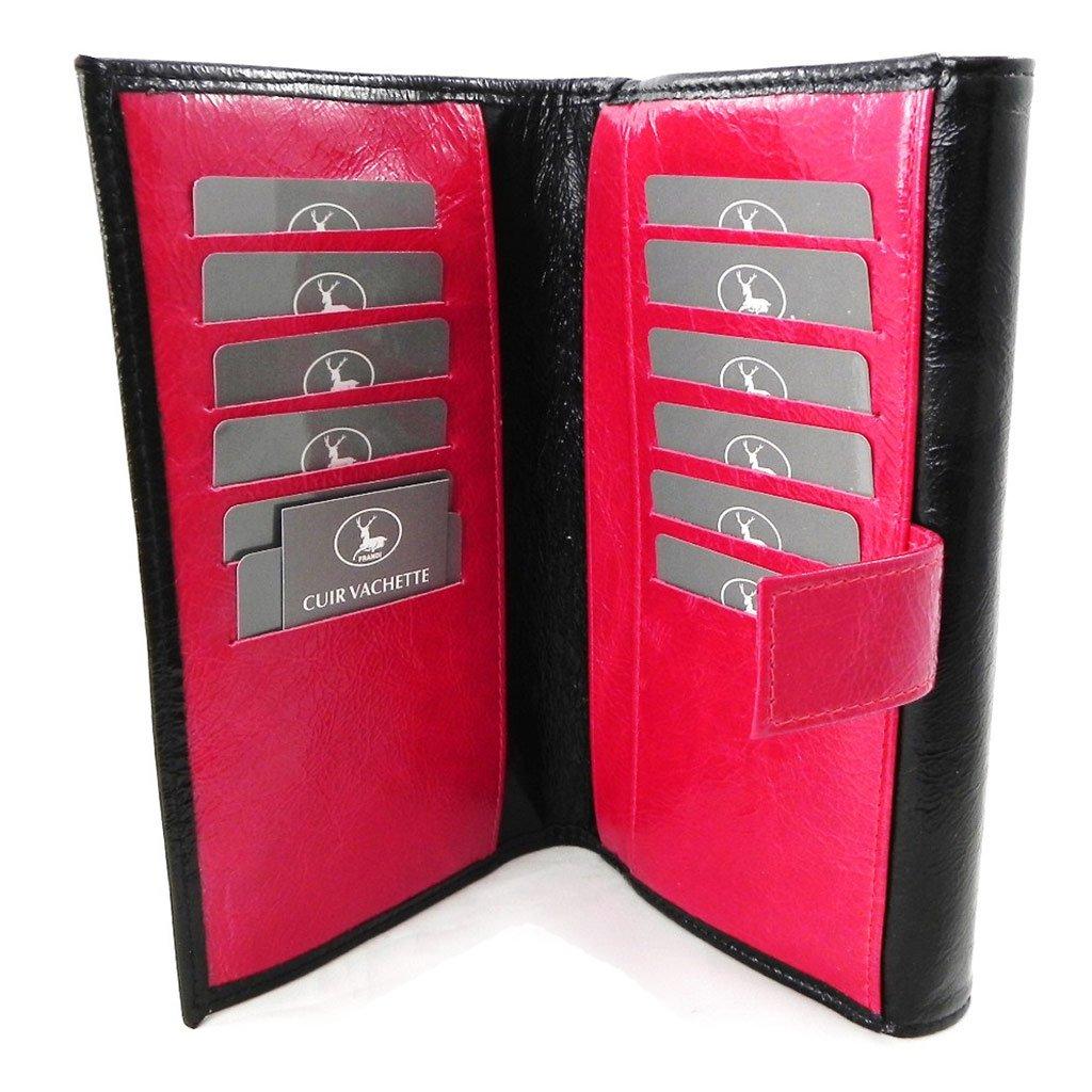 Wallet + checkbook holder leather 'Frandi' black red varnish. by Frandi (Image #8)