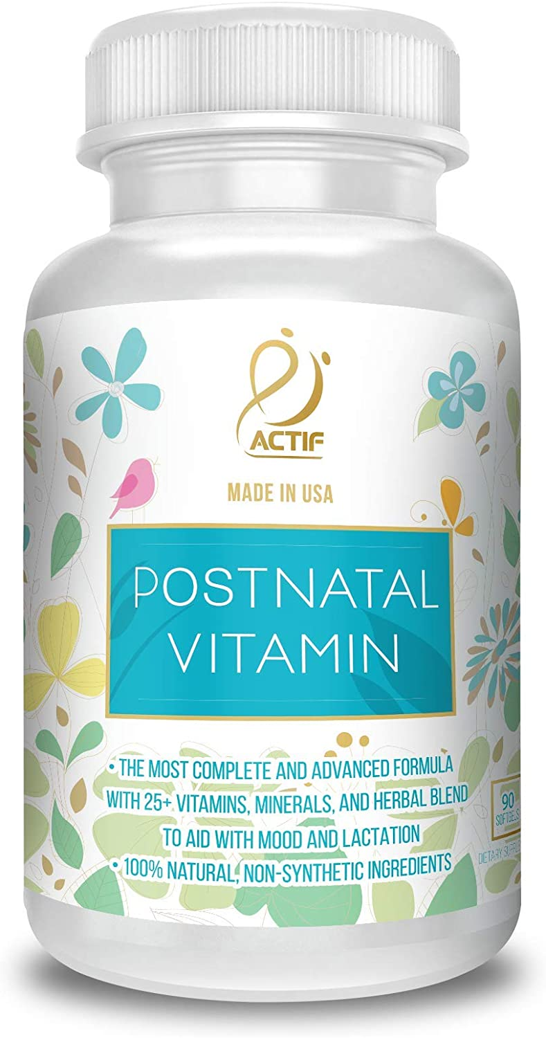 Actif Organic Postnatal with 25 Organic Vitamins and Organic Herbs, Nursing and Lactation Supplement, Non-GMO, Made in USA, 90 Count