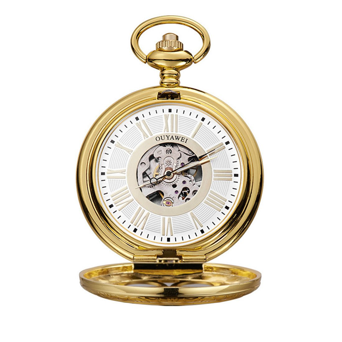 Funique Unisex Roman Numerals Classic Mechanical Pocket Watch with Perspective Bottom Cover(Gold color 2)