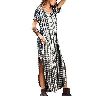 2d255475d2a oboss Women Maxi Dress Side Split V Neck Short Sleeve Casual Loose Beach  Pockets Summer Dress at Amazon Women s Clothing store