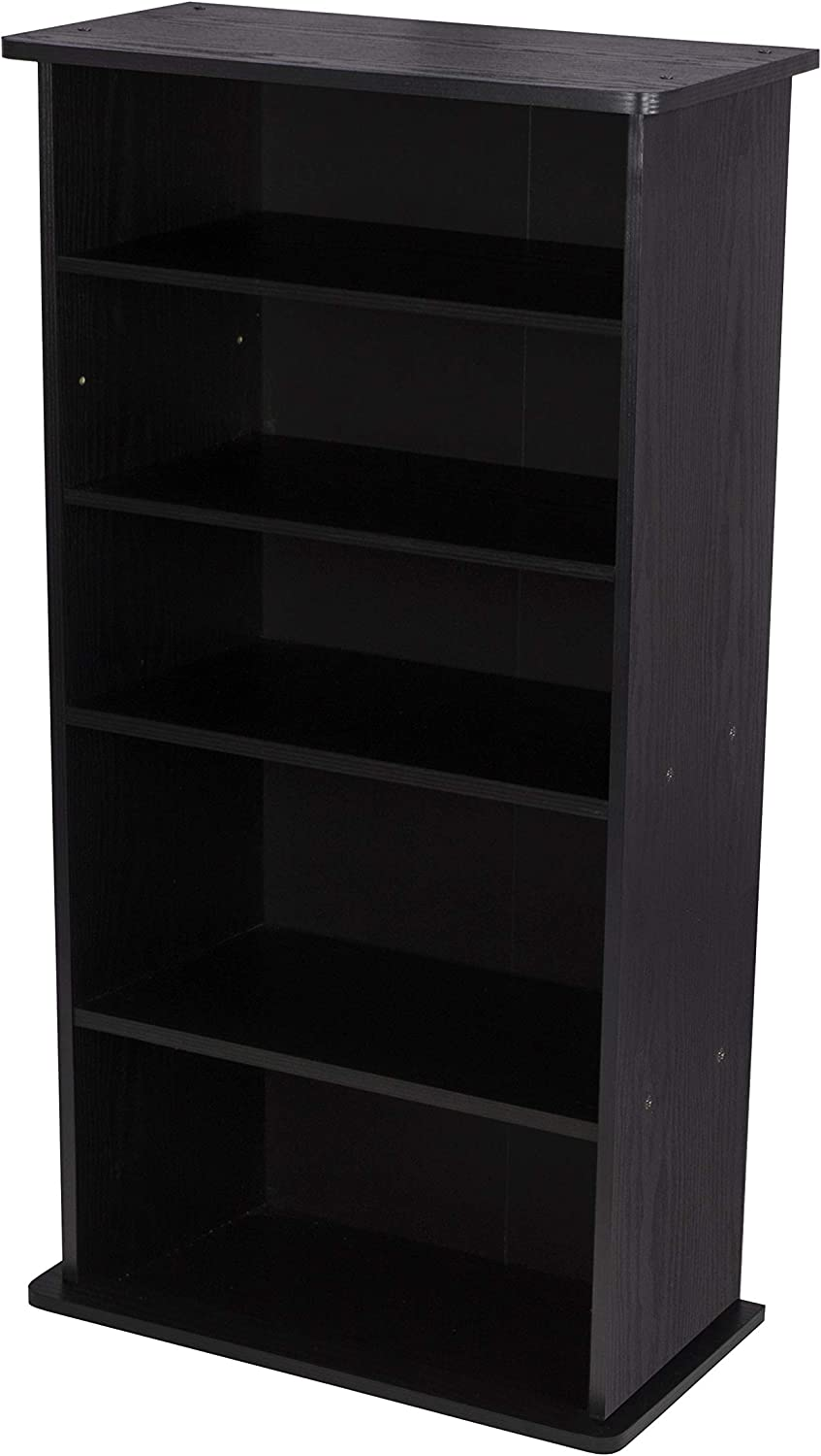 Atlantic Drawbridge XL Media Cabinet - Holds 240 CDs, Wide Stable Base, 4 Adjustable, 2 Fixed Deeper Shelves, 36 X 19 X 10 inch PN37936251 in Black