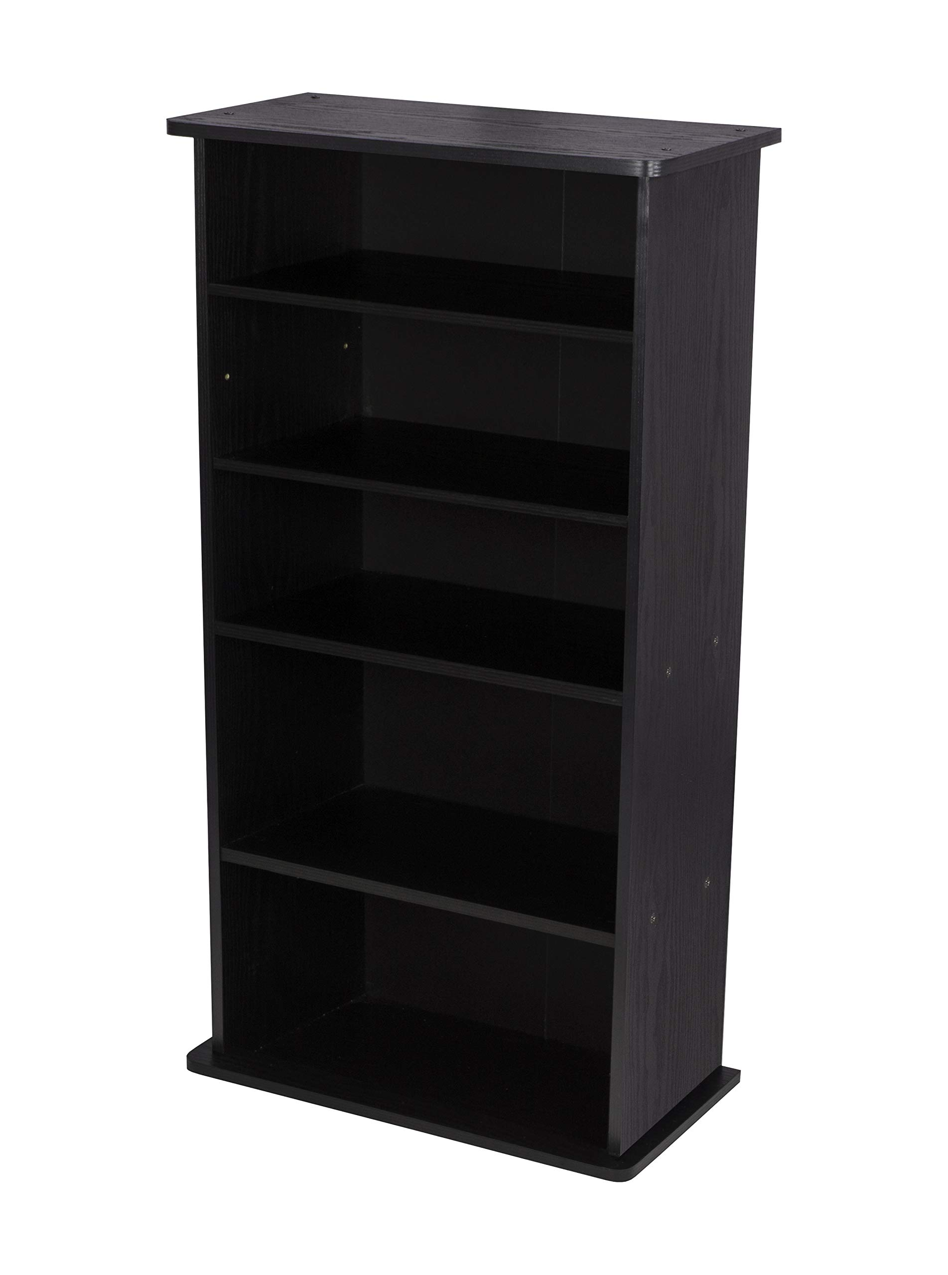 Atlantic Drawbridge XL Media Cabinet - Holds 240 CDs, Wide Stable Base, 4 Adjustable, 2 Fixed Deeper Shelves, 36 X 19 X 10 inch PN37936251 in Black by Atlantic