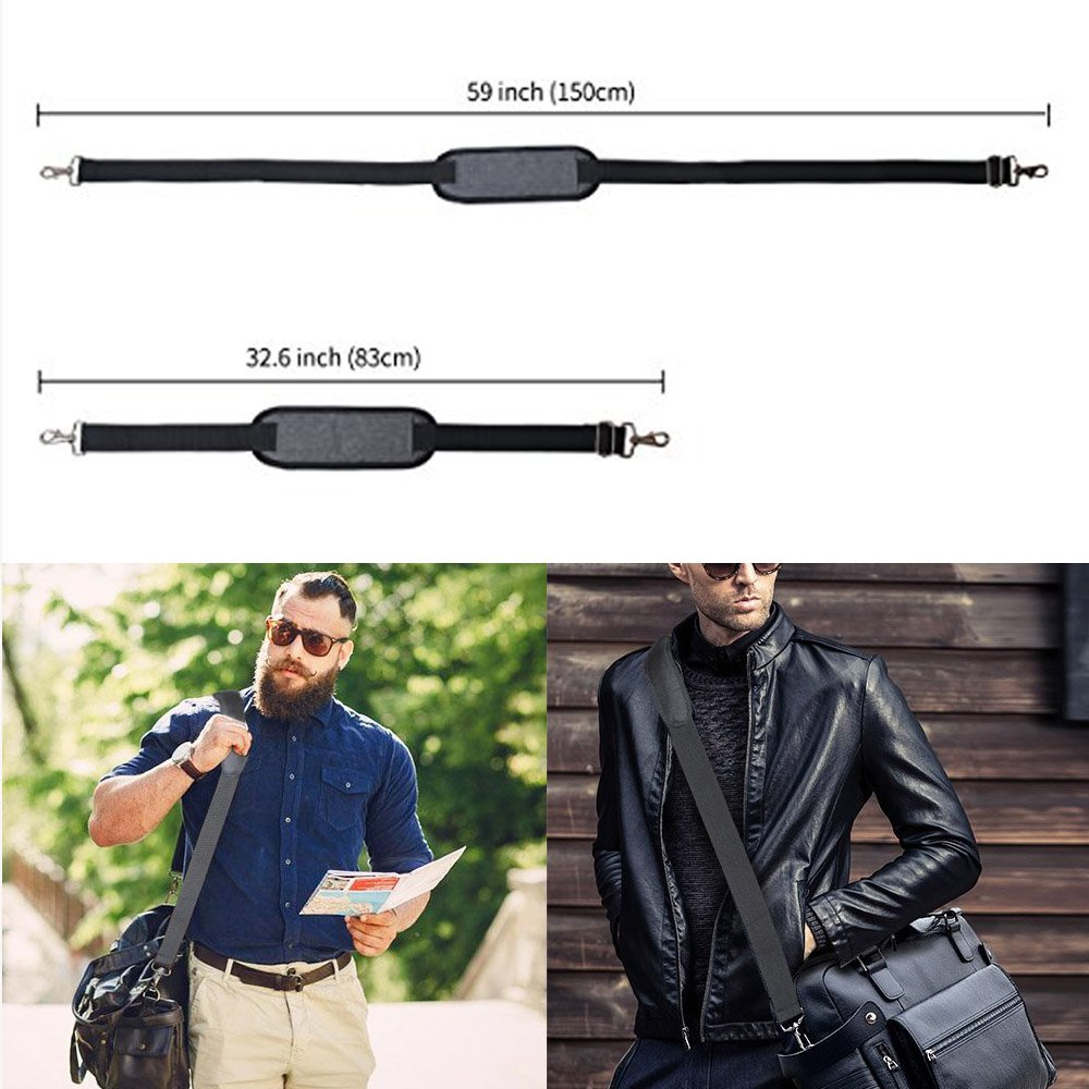 JAKAGO 150cm Universal Replacement Shoulder Straps Adjustable Bag Straps with Metal Swivel Hooks and Non-Slip Pad for Duffel Bag Laptop Briefcase Violin Bag Camera Travel Bag (Grey) by JAKAGO (Image #3)
