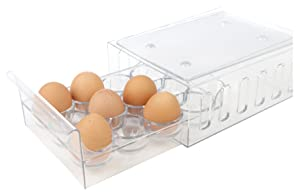 Mind Reader Egg Holder Refrigerator Storage Container, 12 Egg Tray, Clear
