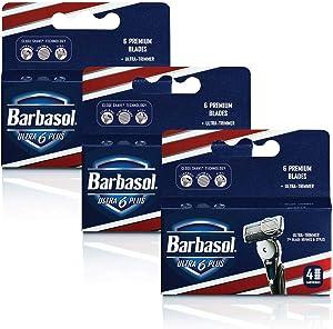 Barbasol Ultra 6 Plus Razor Blade Cartridge Refills, 12 Count (3-6 Month Supply*)