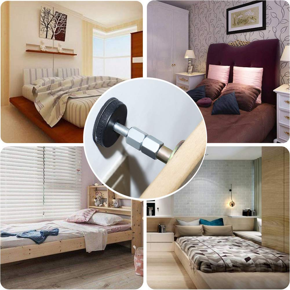 Cabinets Chairs Sofas mcjs-silisili Adjustable Threaded Bed Frame Anti-Shake Tool 33-40mm 5Pack Bedside Fixer Prevent loosening Bed Rocking Squeaky Support Bed Claw for Bed