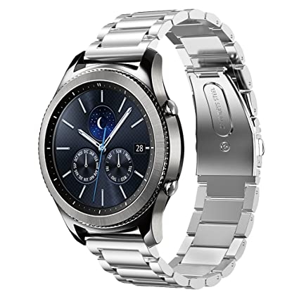 Shangpule Compatible Gear S3 Bands, Galaxy Watch 46mm Bands, 22mm Stainless Steel Metal Replacement Strap Bracelet Compatible Samsung Gear S3 Classic ...